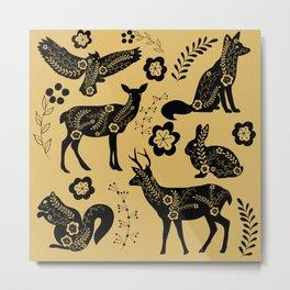 Folk Art Forest Animals, Mustard Metal Print