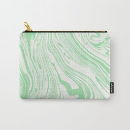 Pastel green white watercolor hand painted marble Carry-All Pouch