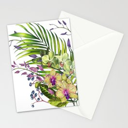 Bouquet, Orchid, Bud, Leaf Clipart, watercolor, handpainted, floral, flower, design, style, troical Stationery Cards