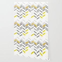 Deconstructed Chevron A – Gray / Yellow / Orange Pattern Print Wallpaper