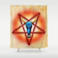 pentagram Shower Curtains featuring NATIVE PENTAGRAM - 018 by Lazy Bones Studios