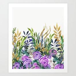 Gold Glitter Purple Garden Art Print