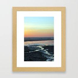 sunset over beach Framed Art Print