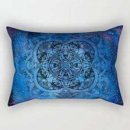 Doctor Who Clockwork Droid Mandala x Watercolor Nebula Rectangular Pillow
