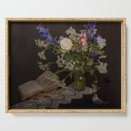 Still life with flowers, books and bird Serving Tray