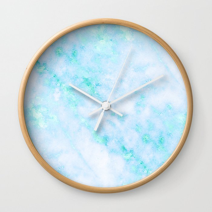 7424832a83c02 Blue Marble - Shimmery Turquoise Blue Sea Green Marble Metallic Wall Clock  by naturemagick | Society6