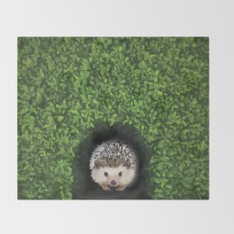 Little Hedgehog in the Hedge Throw Blanket