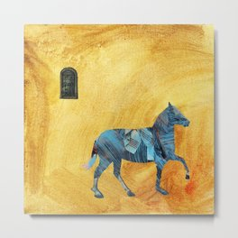 Blue horse passing window Metal Print