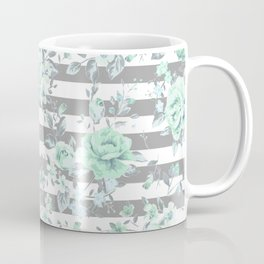 MINT FLORAL GRAY STRIPES SPRING Coffee Mug