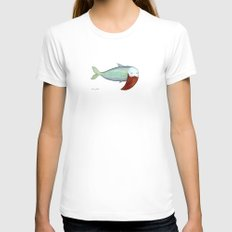 fish with beard Womens Fitted Tee White MEDIUM