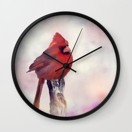 Male Northern Cardinal perches on a stump Wall Clock