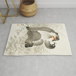 Curious Monkey and insect - Vintage Japanese Woodblock Print Art Rug
