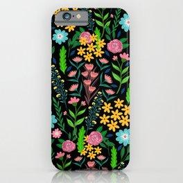 Pretty Blue Pink Garden Flowers Black Design iPhone Case