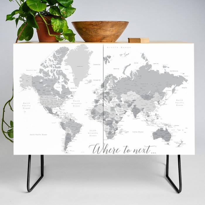 Where to next world map with cities in grayscale Credenza by blursbyaishop