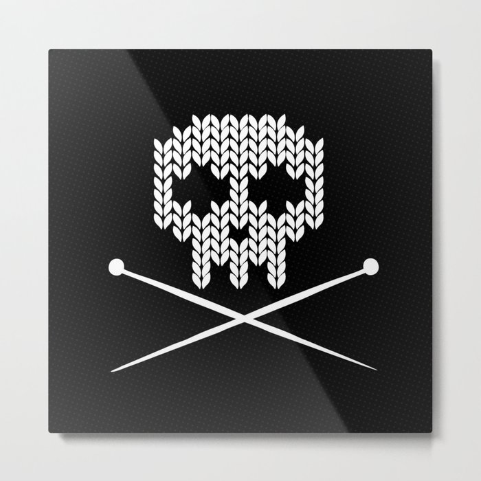 Knitted Skull (White on Black) Metal Print