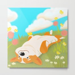 A Happy Corgi In The Sun Metal Print