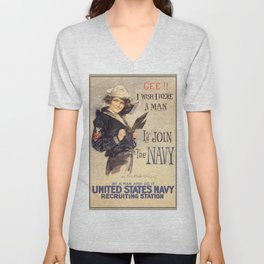 Gee Navy Girl WW1 Vintage Propaganda Poster Unisex V-Neck