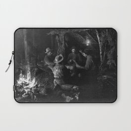 Vintage Adirondacks: Playing Cards by the Campfire Laptop Sleeve