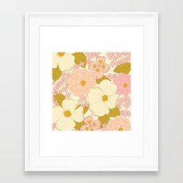 Pink Pastel Vintage Floral Pattern Framed Art Print