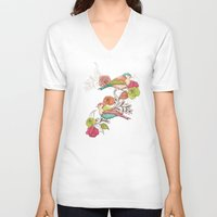 country V-neck T-shirts featuring Country Garden by Amanda Dilworth