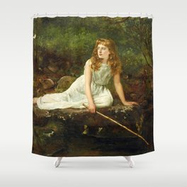 """John Collier """"The Butterfly inscribed 'Portrait of Mabel...'"""" Shower Curtain"""