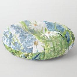 Watercolor Botanical Garden Flower Wildflower Blue Flower Garden Floor Pillow