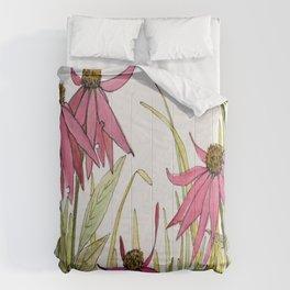 Pink Garden Flower Coneflower Comforters