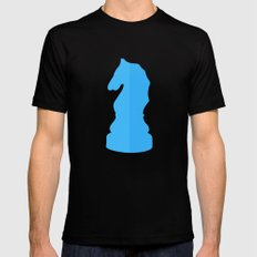 Blue Chess Piece - Knight Mens Fitted Tee MEDIUM Black