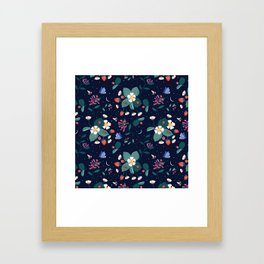 Midnight Strawberry Patch Pattern Framed Art Print