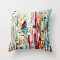 la Throw Pillows featuring sur la route by sylvie demers