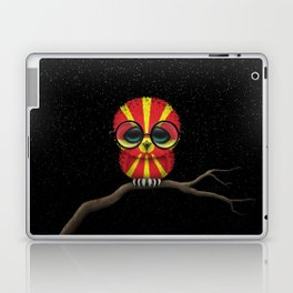 Baby Owl with Glasses and Macedonian Flag Laptop & iPad Skin