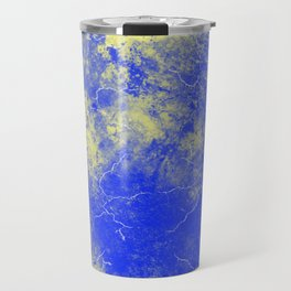 Cool Blue Yellow Marble Pattern Gift Travel Mug