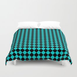 Black and Cyan Diamonds Duvet Cover