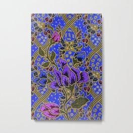 Neon Blue Purple Floral Pattern Leafs Metal Print