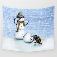 snowman Wall Tapestries featuring Snowman by Anna Shell