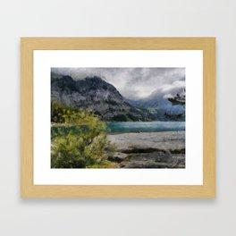 The Beautiful lake Oeschinensee in Kandersteg Switzerland Framed Art Print