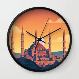 Istanbul Turkey Vector Travel Illustration Wall Clock