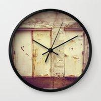 doors Wall Clocks featuring doors by sandra lee russell