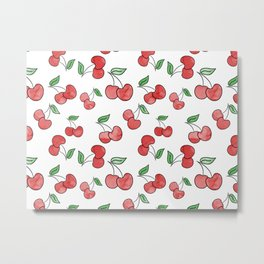 Cherries watercolor pattern Metal Print