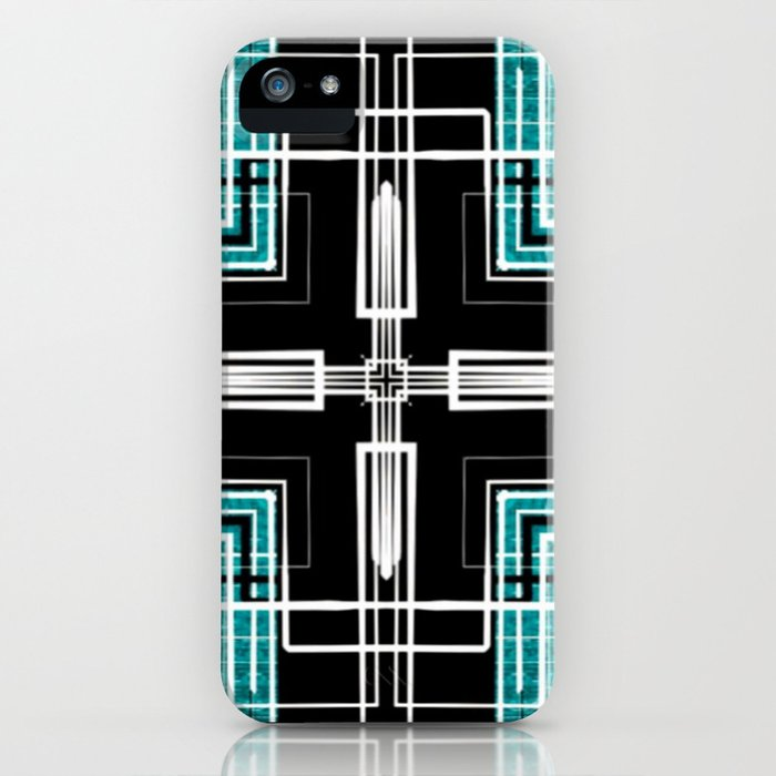 Teal Black and White Line Abstract iPhone Case