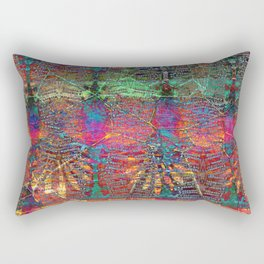 Neon Dragonfly Wing Abstract Rectangular Pillow