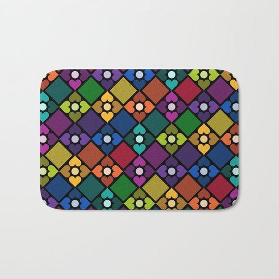 Colorful Floral Pattern Bath Mat