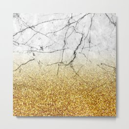Gold Glitter and Gray Marble Metal Print