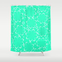 Flowers in mint Shower Curtain