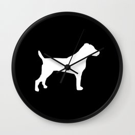 Jack Russell Terrier black and white minimal dog pattern dog silhouette Wall Clock