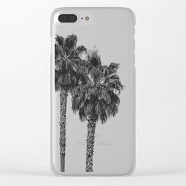 Dos Palmeras // Tropical Black and White Palm Tree Photography California Nature Ocean Vibes Clear iPhone Case