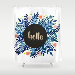 Hello flowers and branches - blue and orange Shower Curtain