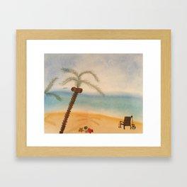 Guitar and the Beach Framed Art Print