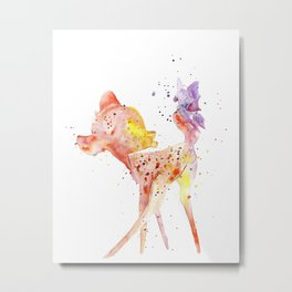 Bambi Meets Butterfly Metal Print