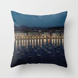 Night view of Donostia-San Sebastian. Spain. Throw Pillow